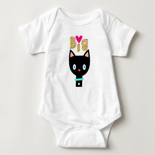 "Cartoon black cat ""Big Love"". Baby Bodysuit"