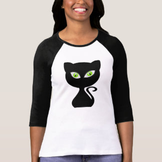 Cartoon Black Cat Green Eyes for T-shirt Women