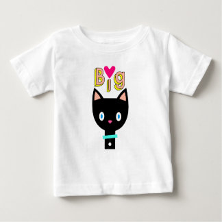 "Cartoon black cat showing ""Big Love"". Baby T-Shirt"