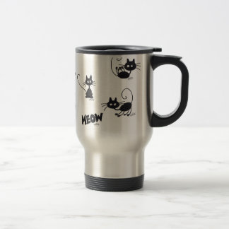 Cartoon Black Cat Travel Mug