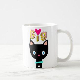 "Cartoon black cat with icon and word ""Big Love"". Coffee Mug"
