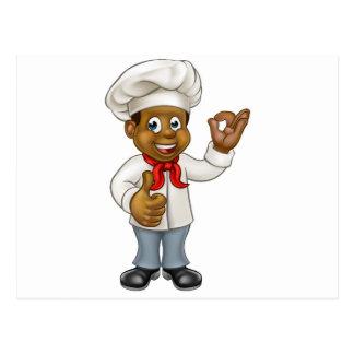 Cartoon Black Chef Cook Postcard