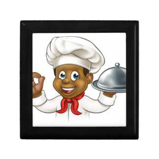Cartoon Black Chef Holding Plate or Platter Gift Box