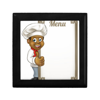 Cartoon Black Chef Menu Gift Box