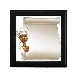 Cartoon Black Chef Menu Scroll Gift Box