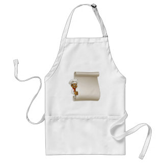 Cartoon Black Chef Menu Scroll Standard Apron