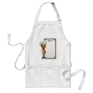 Cartoon Black Chef Menu Standard Apron