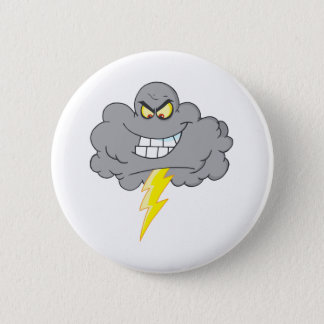 Cartoon Black Cloud With Lightning 2 Inch Round Button