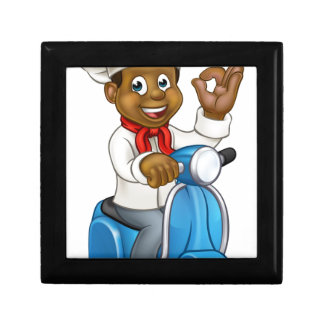 Cartoon Black Delivery Moped Chef Gift Box