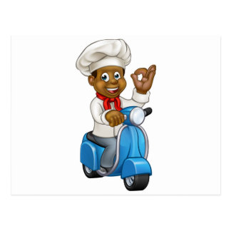 Cartoon Black Delivery Moped Chef Postcard