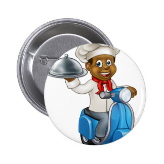 Cartoon Black Delivery Moped Scooter Chef 2 Inch Round Button