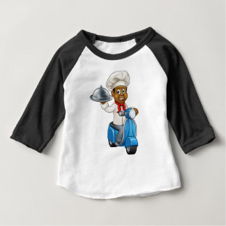 Cartoon Black Delivery Moped Scooter Chef Baby T-Shirt