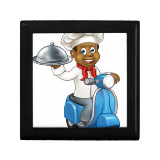 Cartoon Black Delivery Moped Scooter Chef Gift Box