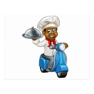 Cartoon Black Delivery Moped Scooter Chef Postcard
