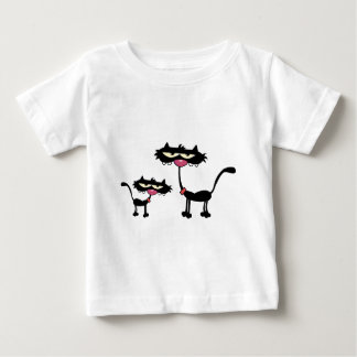 Cartoon Black Father and Son Cats Baby T-Shirt