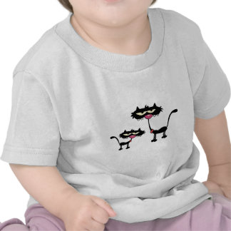 Cartoon Black Father and Son Cats Tshirt