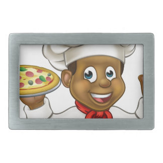 Cartoon Black Pizza Chef Belt Buckles