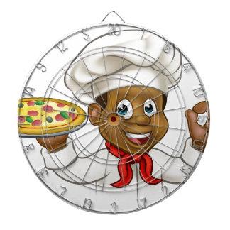 Cartoon Black Pizza Chef Dartboard