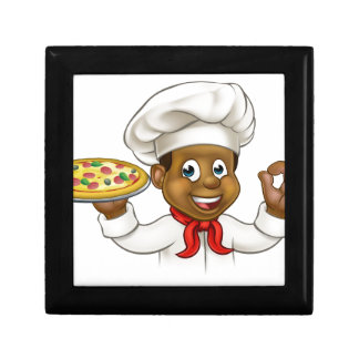 Cartoon Black Pizza Chef Gift Box