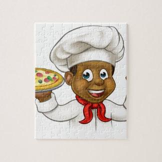 Cartoon Black Pizza Chef Jigsaw Puzzle