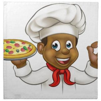 Cartoon Black Pizza Chef Napkin