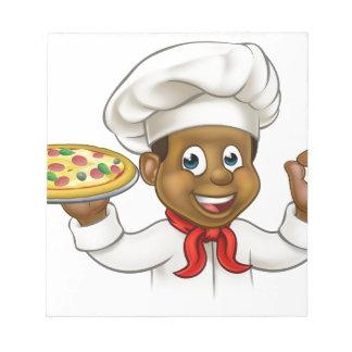Cartoon Black Pizza Chef Notepad