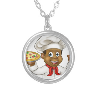 Cartoon Black Pizza Chef Silver Plated Necklace