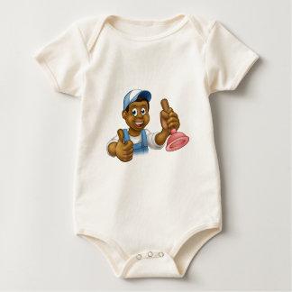Cartoon Black Plumber Handyman Holding Punger Baby Bodysuit