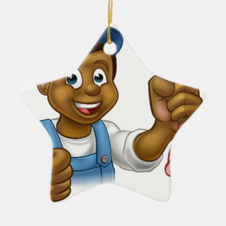 Cartoon Black Plumber Handyman Holding Punger Ceramic Star Ornament