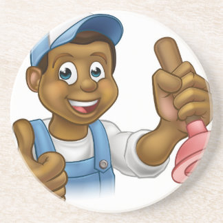 Cartoon Black Plumber Handyman Holding Punger Drink Coaster