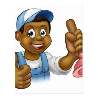 Cartoon Black Plumber Handyman Holding Punger Postcard