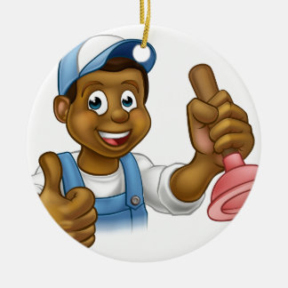 Cartoon Black Plumber Handyman Holding Punger Round Ceramic Ornament