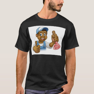 Cartoon Black Plumber Handyman Holding Punger T-Shirt