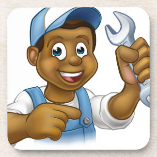 Cartoon Black Plumber Mechanic or Handyman Drink Coaster