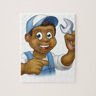 Cartoon Black Plumber Mechanic or Handyman Puzzles
