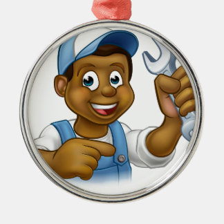 Cartoon Black Plumber Mechanic or Handyman Silver-Colored Round Ornament