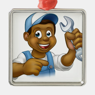 Cartoon Black Plumber Mechanic or Handyman Silver-Colored Square Ornament