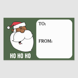 Cartoon Black Santa Claus Gift Tag Sticker