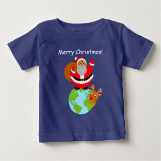 Cartoon Black Santa Claus standing on the Earth, Baby T-Shirt