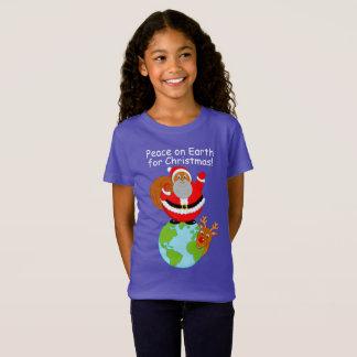 Cartoon Black Santa Claus standing on the Earth, T-Shirt