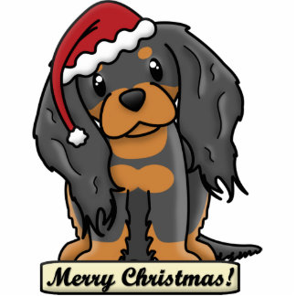 Cartoon Black & Tan Cavalier Christmas Ornament Photo Sculpture Ornament