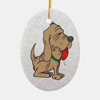 cartoon bloodhound ceramic ornament