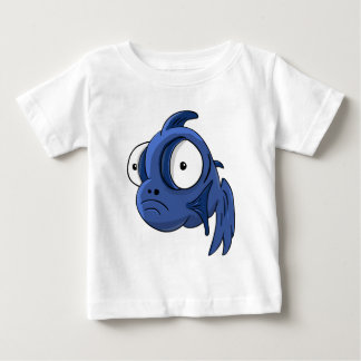 Cartoon blue and white big eyes cichlid baby T-Shirt