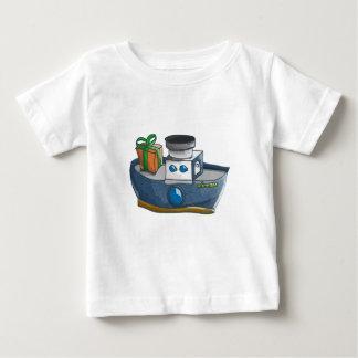 Cartoon blue and white cargo steamship baby T-Shirt