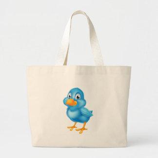 Cartoon Blue Bird Large Tote Bag