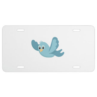 Cartoon Blue Bird License Plate