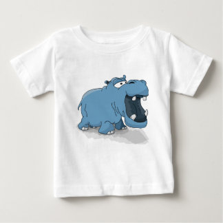 Cartoon blue hippo in the water baby T-Shirt