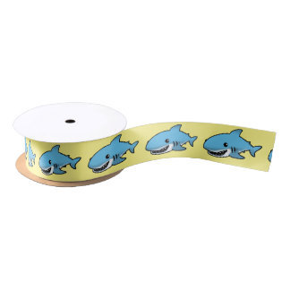 cartoon blue shark satin ribbon