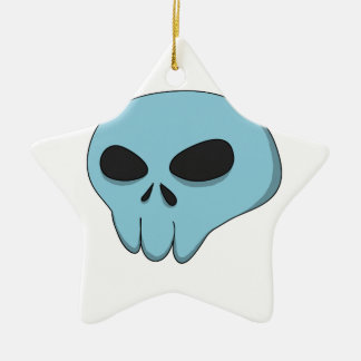 cartoon blue skull ceramic star ornament