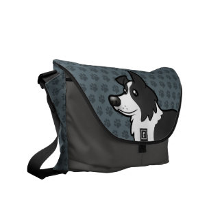 Cartoon Border Collie Commuter Bags